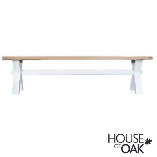 Florence Oak Small Cross Bench - White Painted