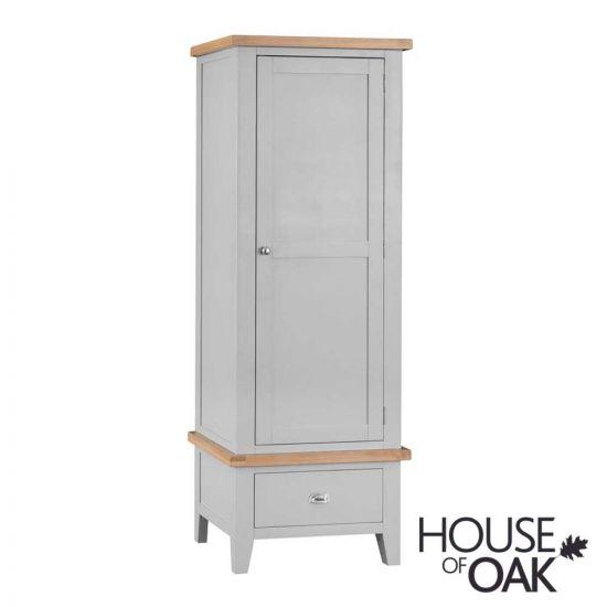 Florence Oak Single Wardrobe - Grey Painted