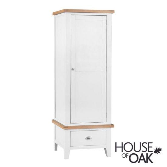 Florence Oak Single Wardrobe - White Painted