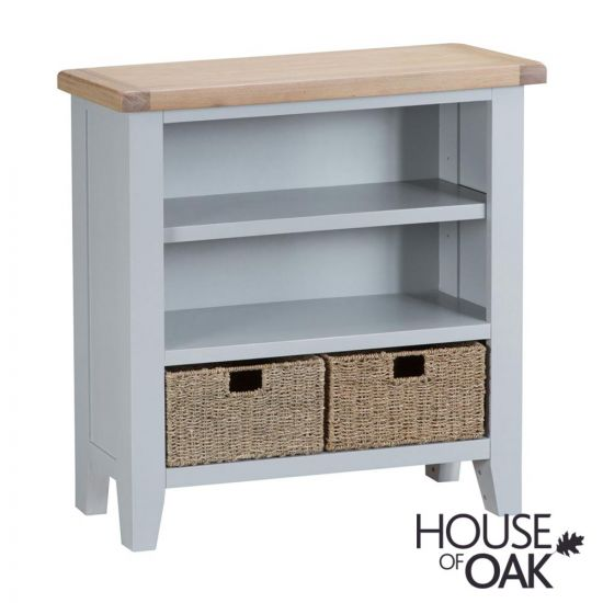 Florence Oak Small Wide Bookcase - Grey Painted
