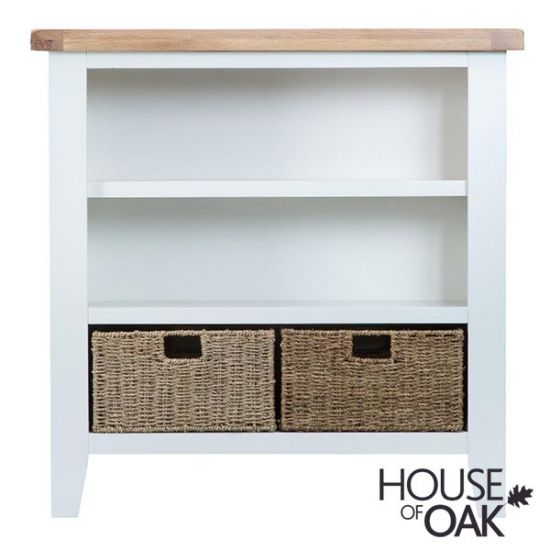 Florence Oak Small Wide Bookcase - White Painted