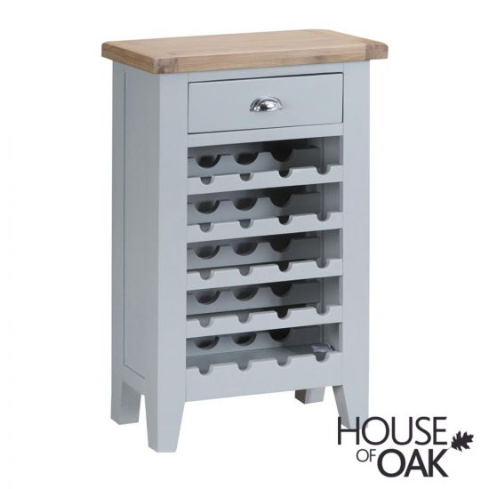 Florence Oak Wine Cabinet - Grey Painted
