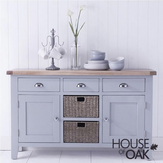 Florence Oak Large Sideboard - Grey Painted