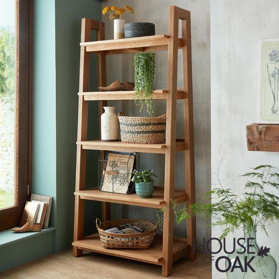 Windermere Rough Sawn Oak Ladder Bookcase/Display Unit