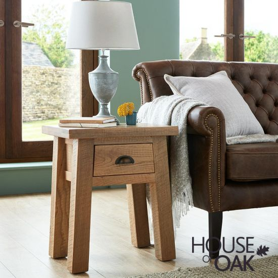 Windermere Rough Sawn Oak Lamp Table with Drawer