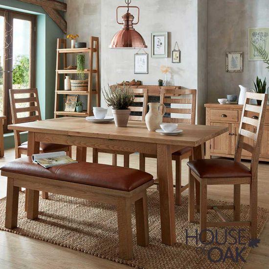 Windermere Rough Sawn Oak 140cm Extending Table