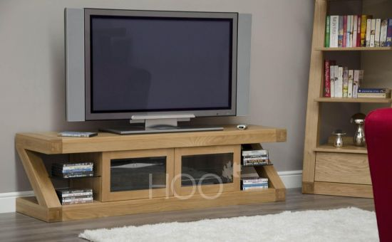 Z Oak Glass Plasma TV Unit