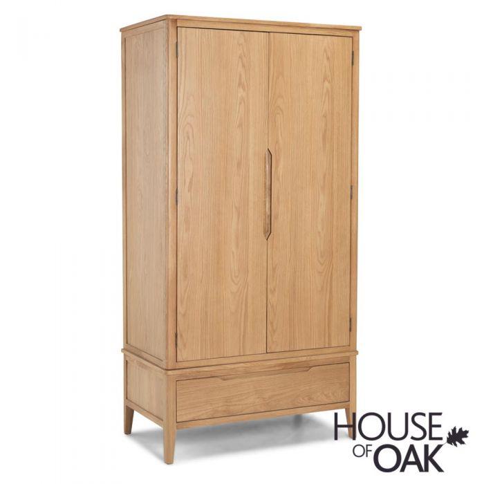 Copenhagen Oak Double Wardrobe With Drawer House Of Oak