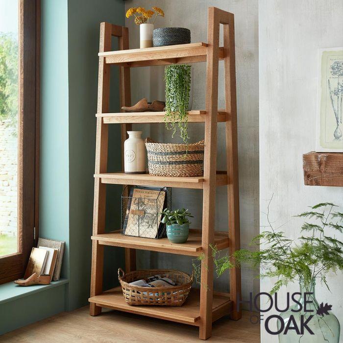 Windermere Rough Sawn Oak Ladder Bookcase House Of Oak