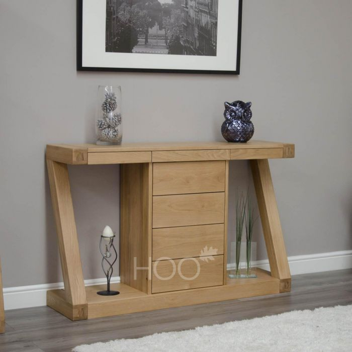 Z Oak Wide Console Table With Drawers House Of - Small Oak Side Table With Drawers