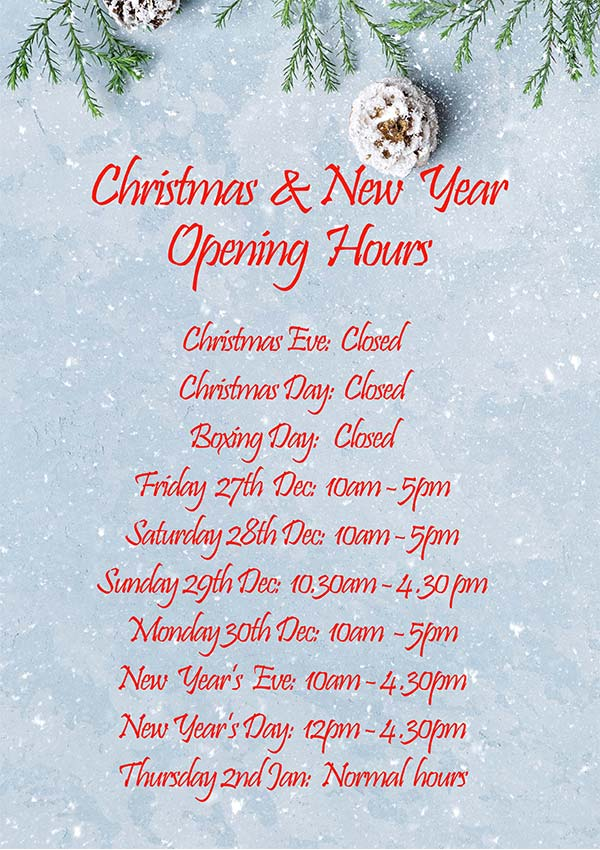 Christmas and New Year Opening Hours 2019/20