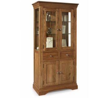 Philipe Solid Oak and Glass Cabinet