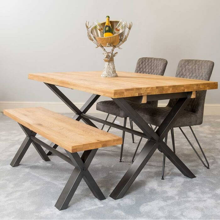 Farmhouse dining table with metal legs
