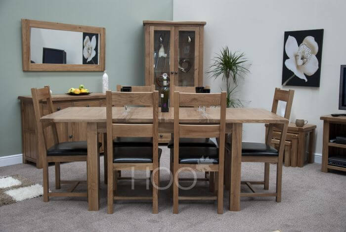 Rustic dining table in oak