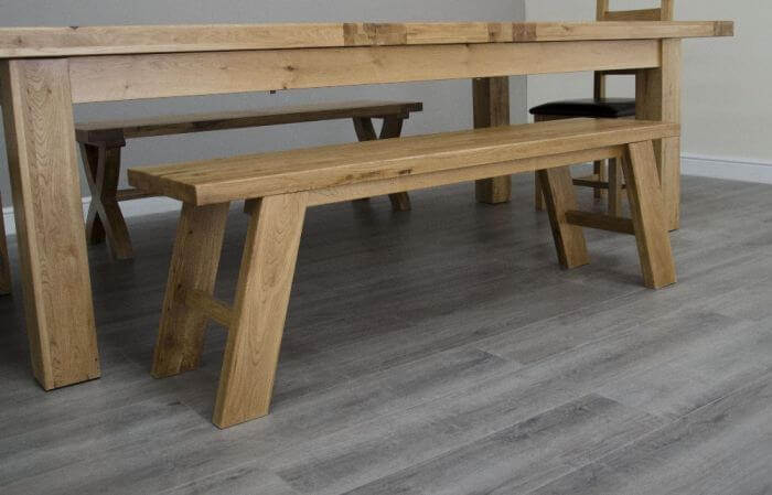 Solid oak bench for farmhouse look