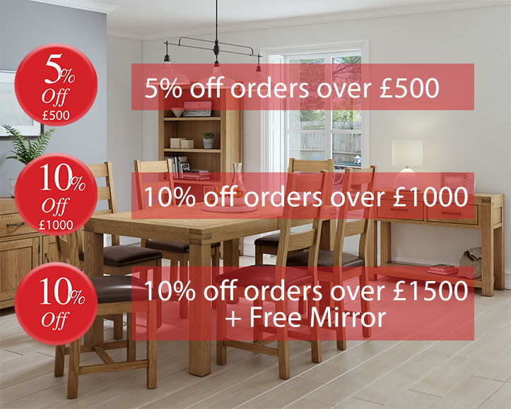 Special Offer - 5% off orders over £500, 10% off orders over £1000 and 10% off orders over £1500 + Free Mirror