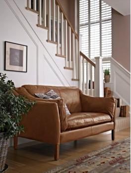 Reggio Highback 2 Seater Sofa in Old Saddle Nut