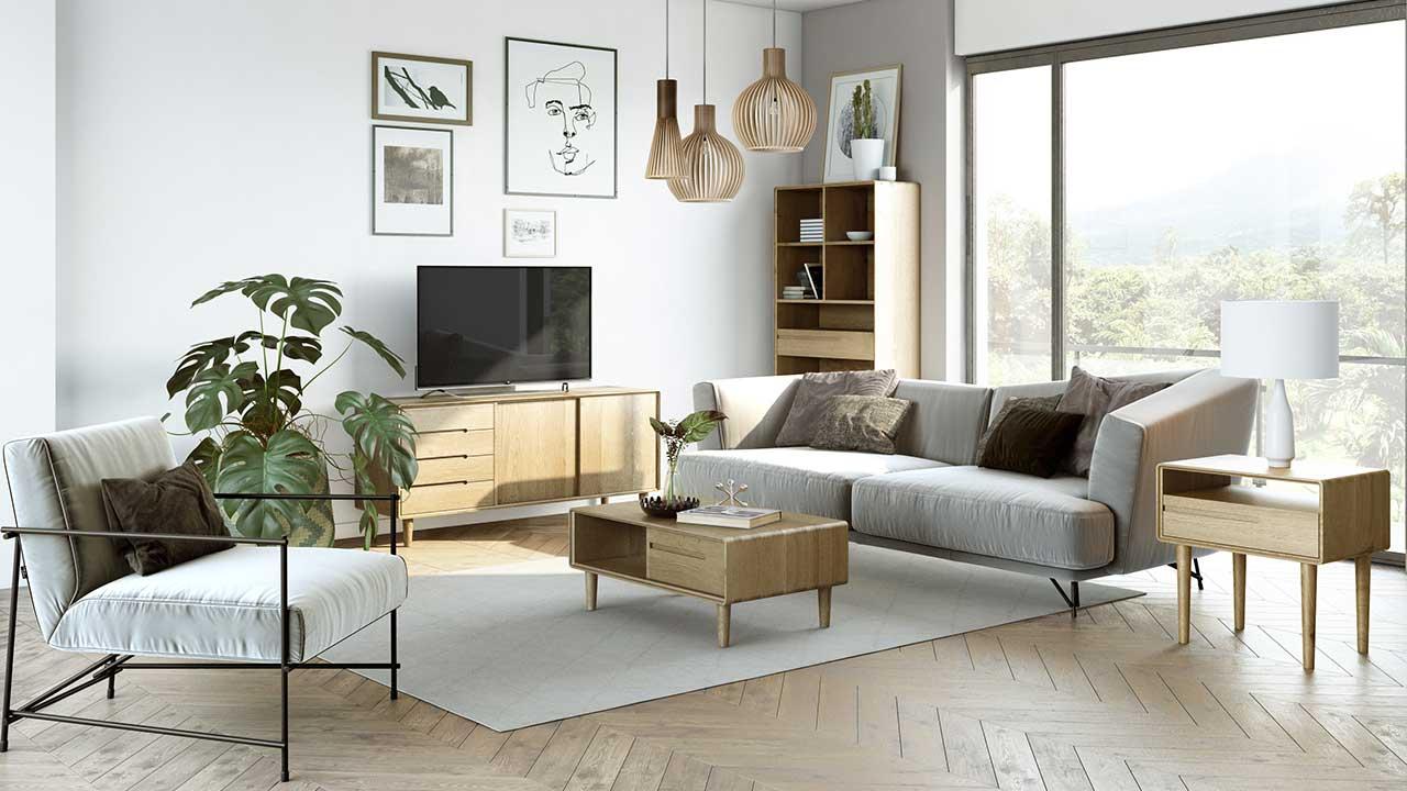 scandi oak living room furniture