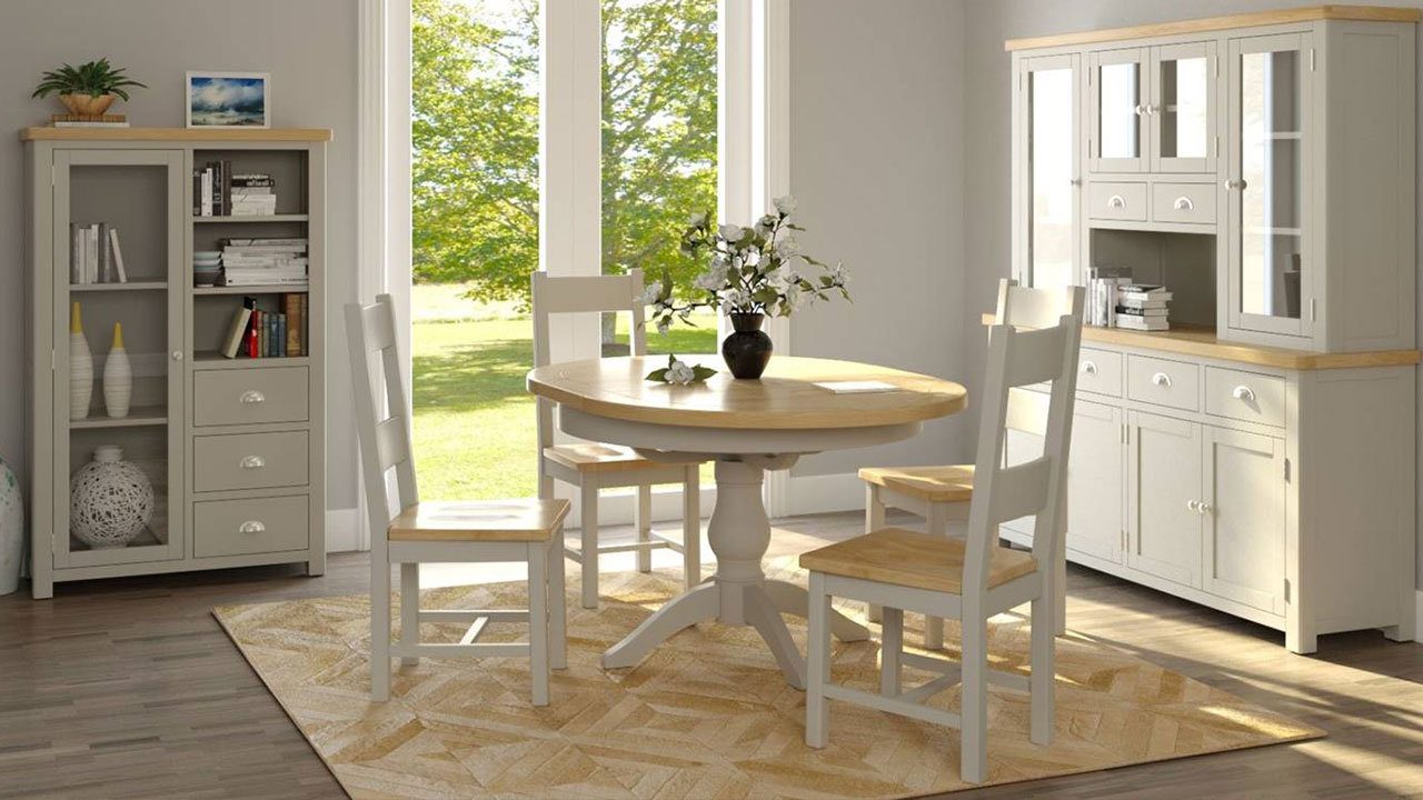 Portman Oak in White Dining Room Furniture