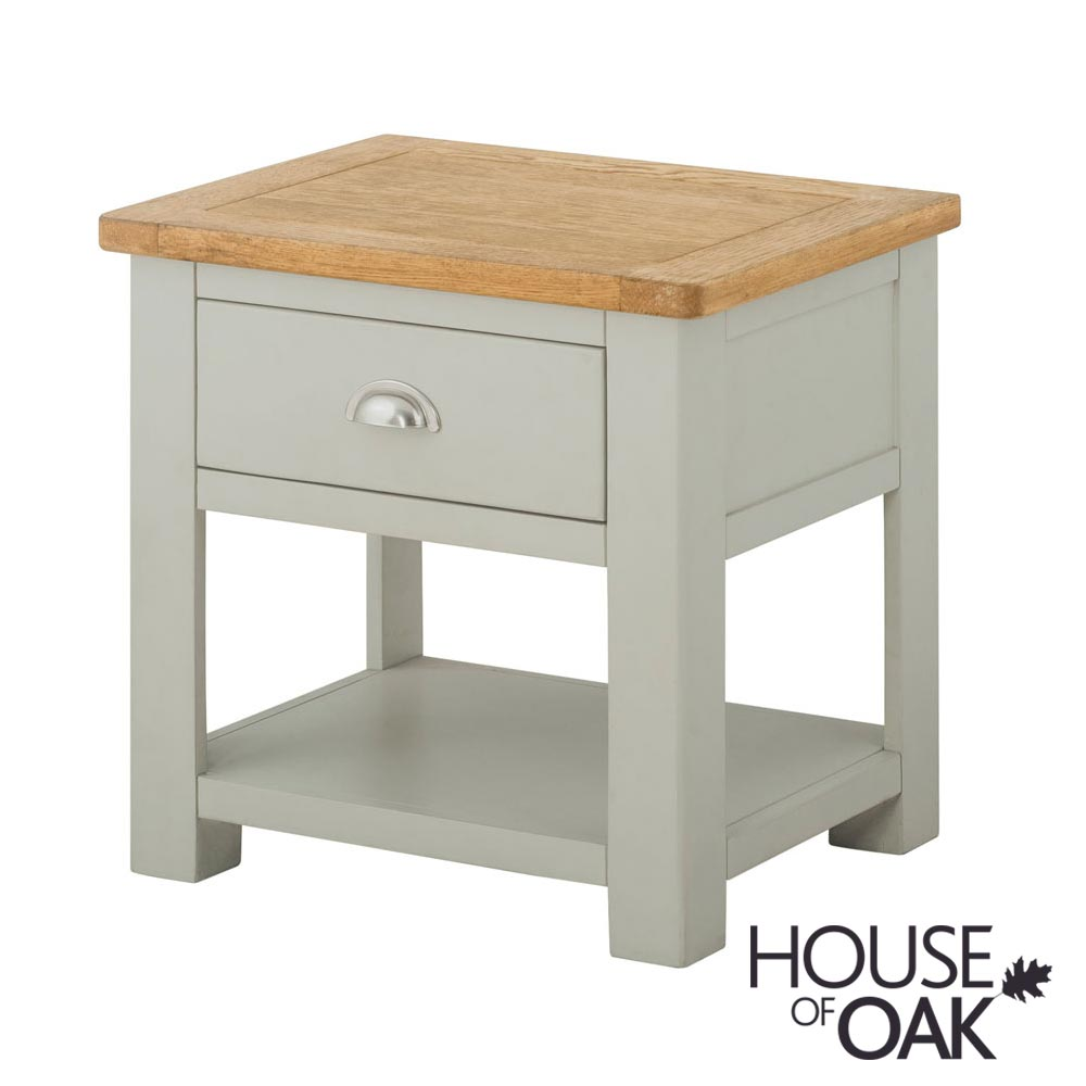 Portman Painted 1 Drawer Lamp Table in Stone Grey