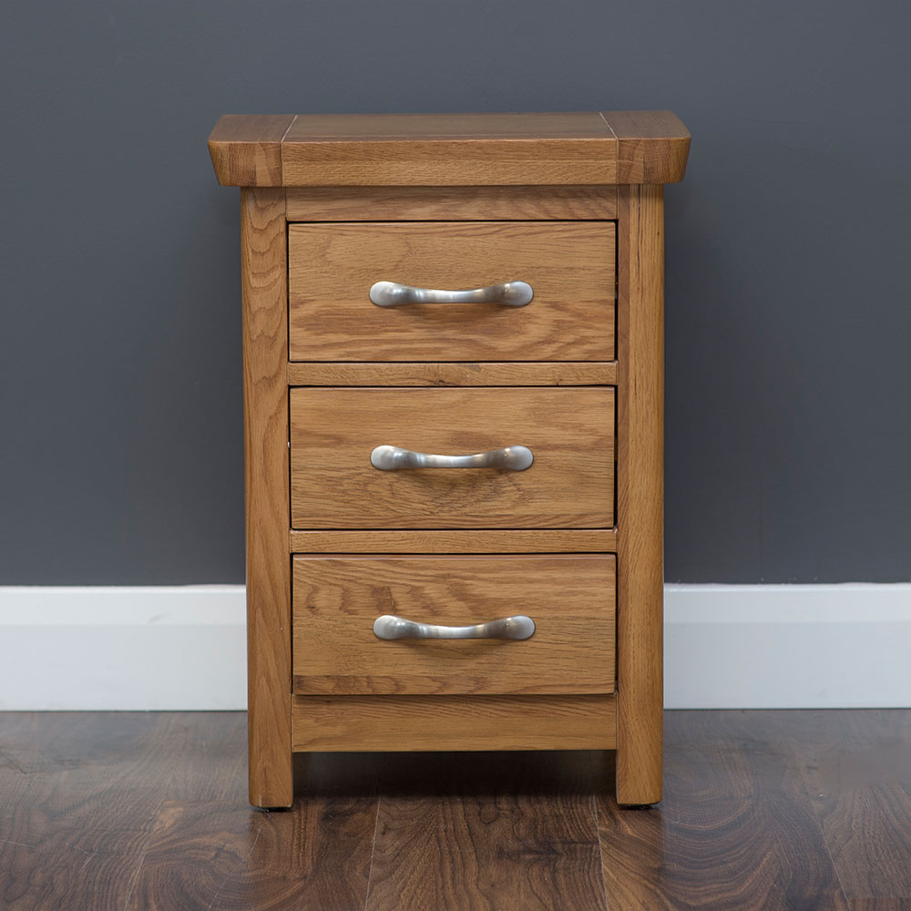 York 3 Drawer Bedside in Oak