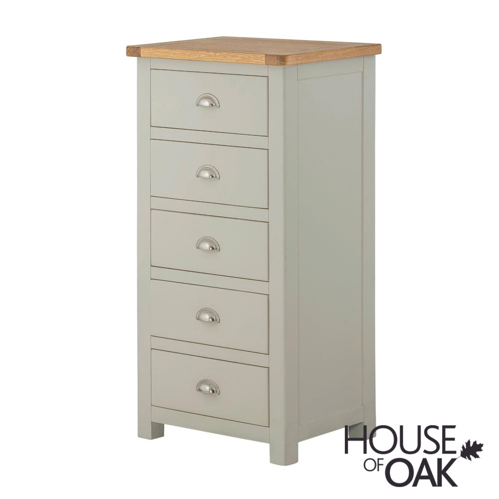Portman Painted 5 Drawer Slim Jim in Stone Grey
