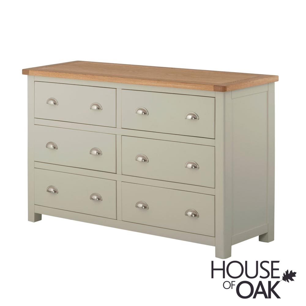 Portman Painted 6 Drawer Wide Chest in Stone Grey