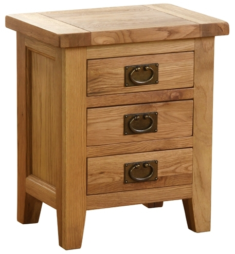 New Hampshire Oak 3 Drawer Bedside Cabinet