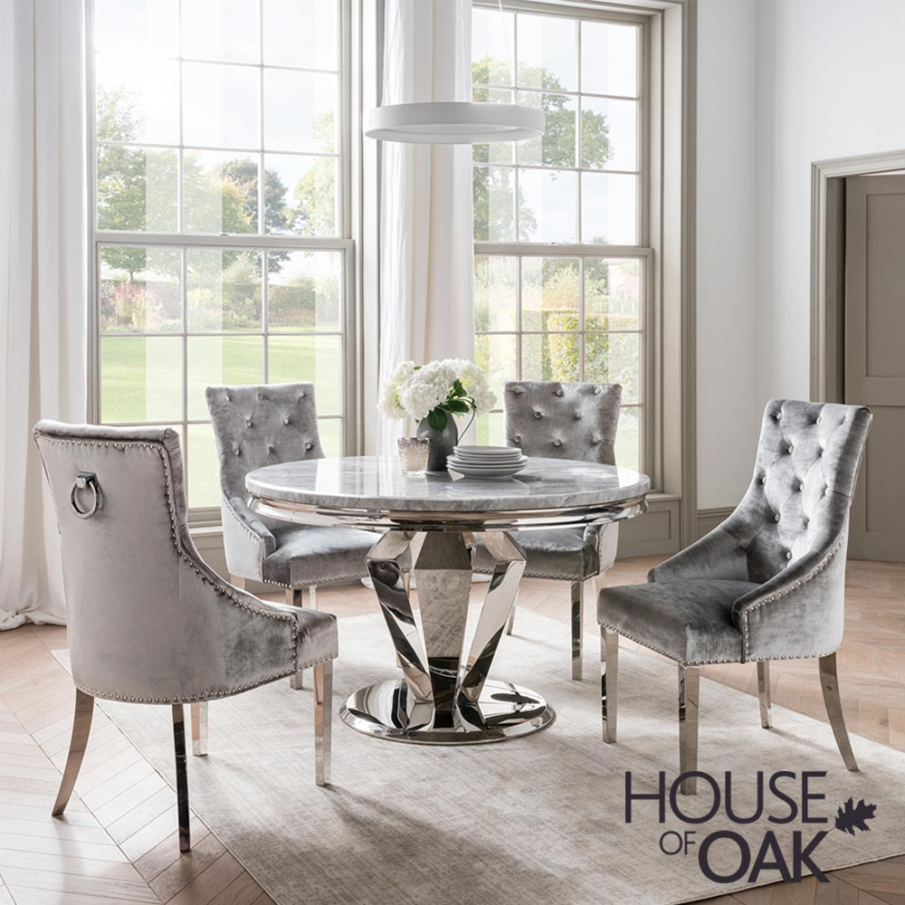 Arturo Grey 130cm Round Dining Table, Gray Dining Room Furniture
