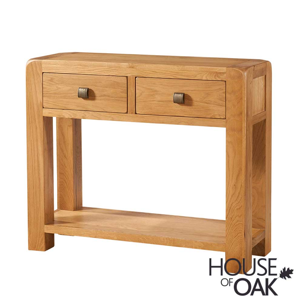 Wiltshire Oak Hall Table With 2 Drawers, Wiltshire Oak Console Table With Storage Baskets