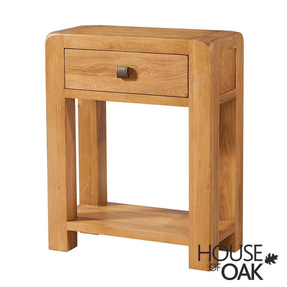 Wiltshire Oak Hall Table With 1 Drawer, Wiltshire Oak Console Table With Storage Baskets