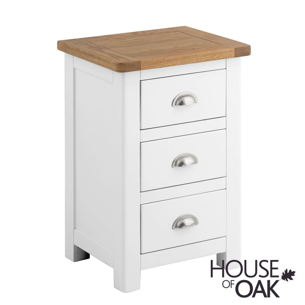 Portman Painted 3 Drawer Bedside in White