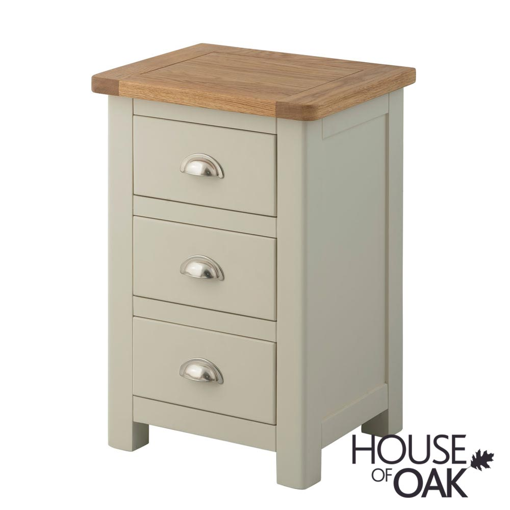 Portman Painted 3 Drawer Bedside Cabinet in Stone Grey