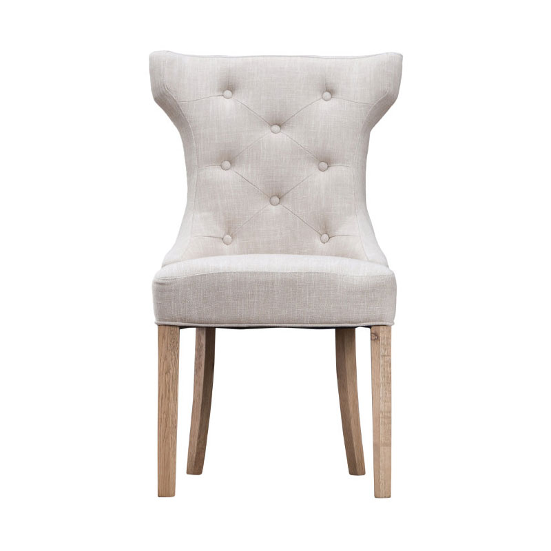 Winged Button Back Chair with Metal Ring - Beige