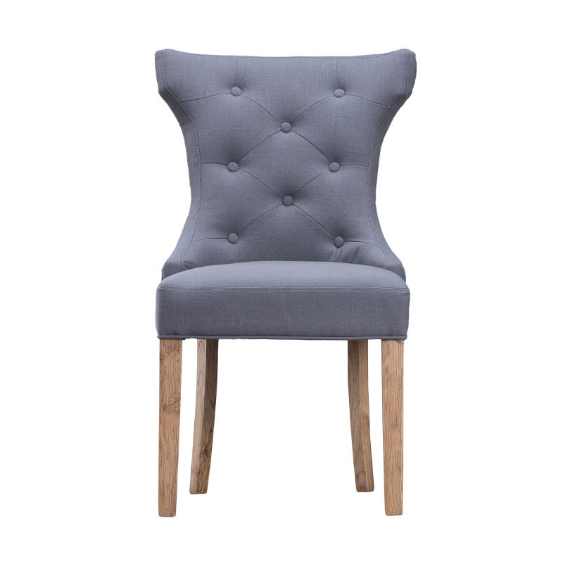 Winged Button Back Chair with Metal Ring - Grey
