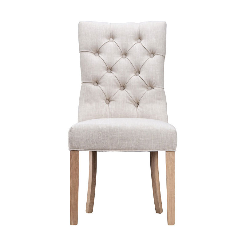 Curved Button Back Chair - Beige
