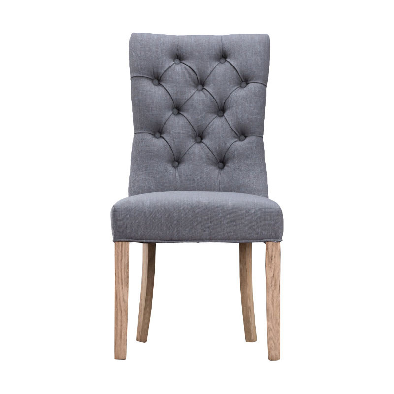 Curved Button Back Chair - Grey