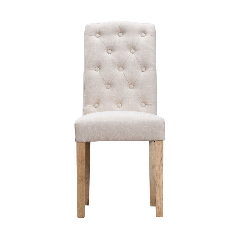Button Back Upholstered Chair - Beige
