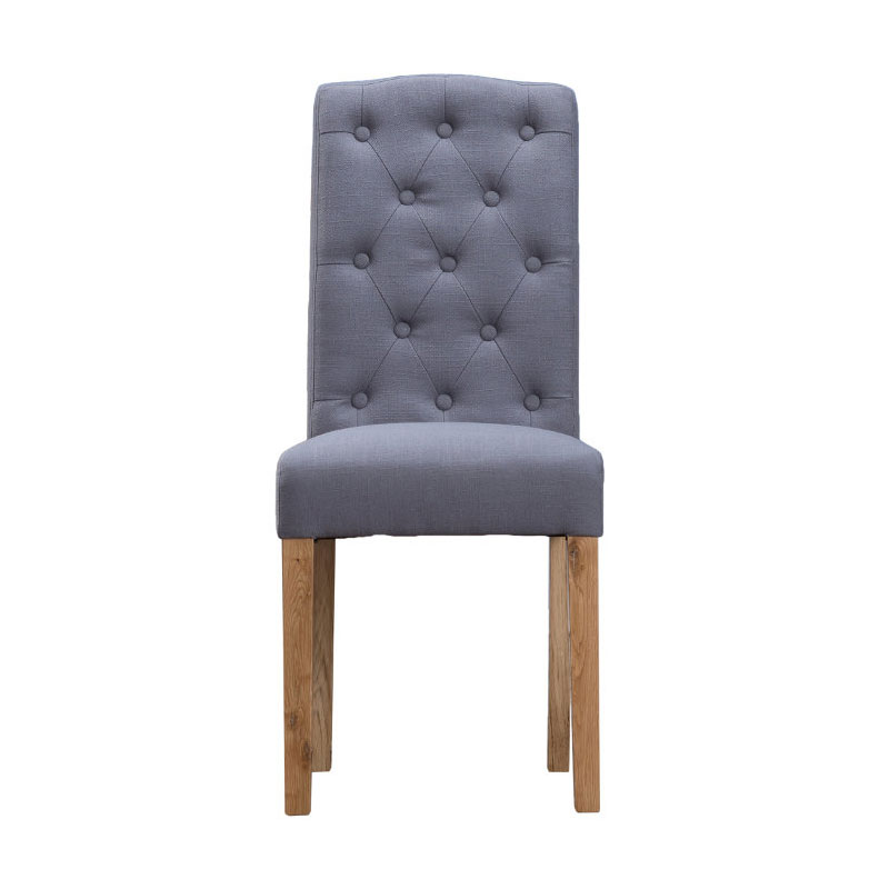 Button Back Upholstered Chair - Grey