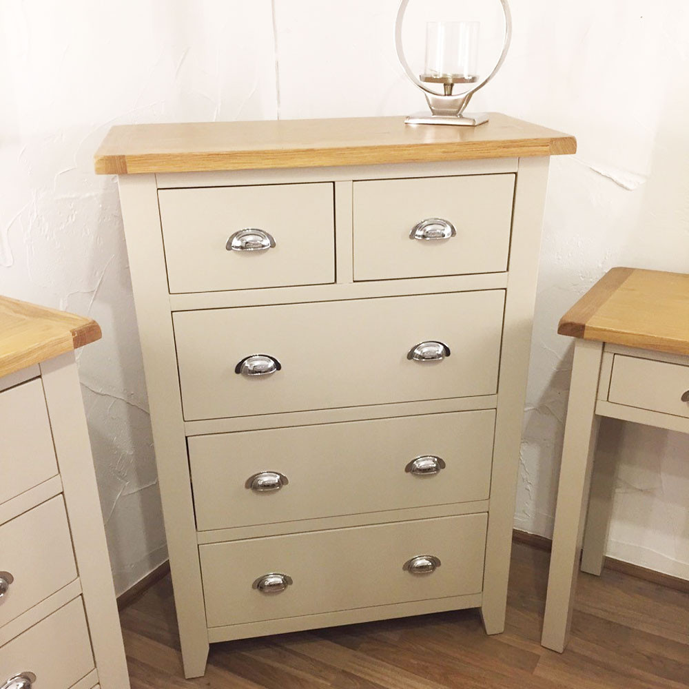 Chester Grey Painted Jumbo 2 over 3 Drawer Chest of Drawers