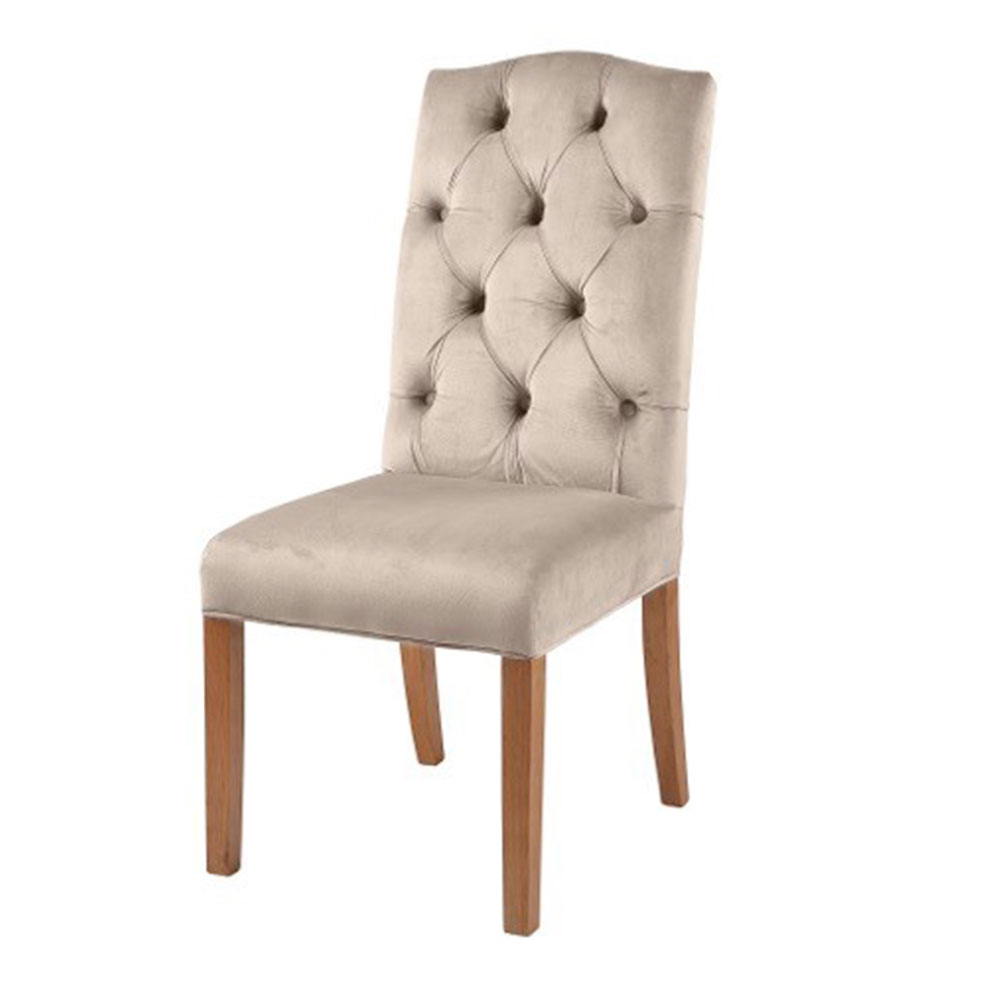 Classic Arch Top Button Back Chair in Beige Velvet