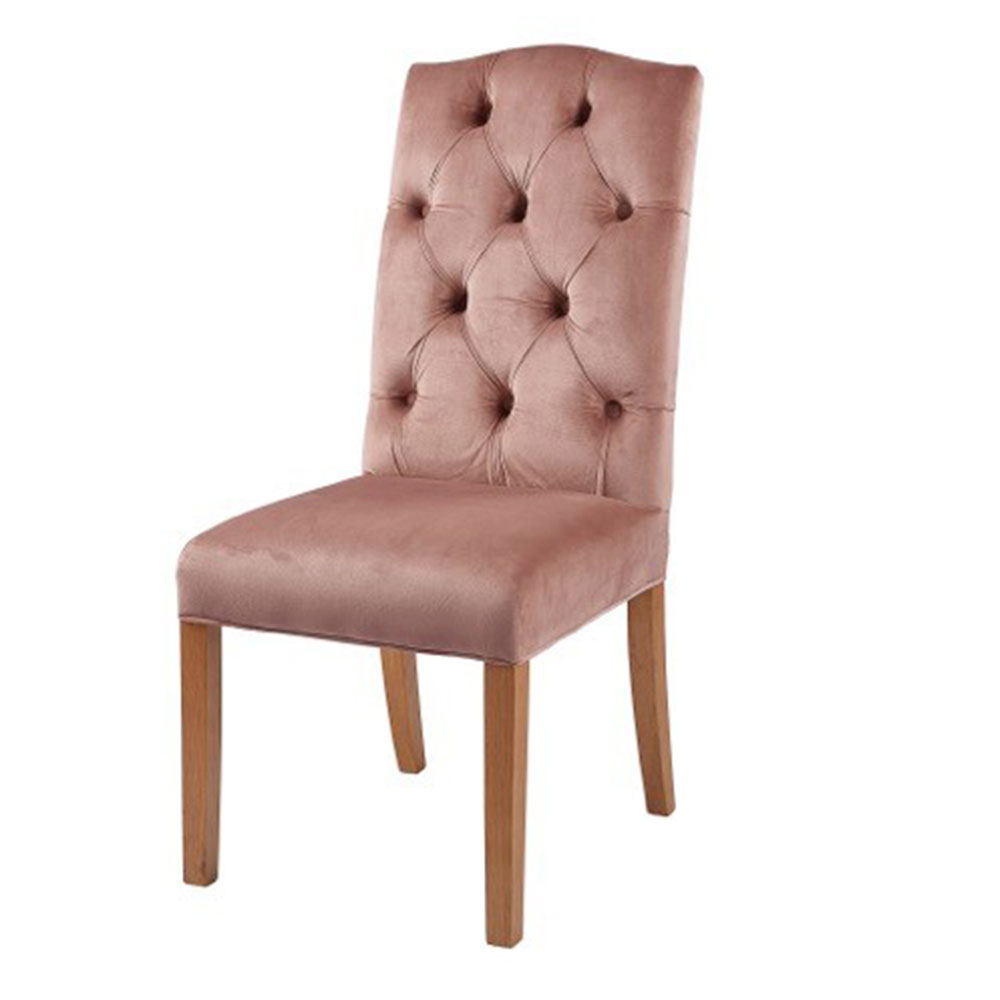 Classic Arch Top Button Back Chair in Rose Velvet