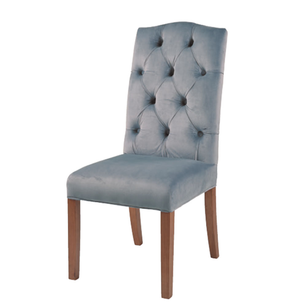 Classic Arch Top Button Back Chair in Grey Velvet