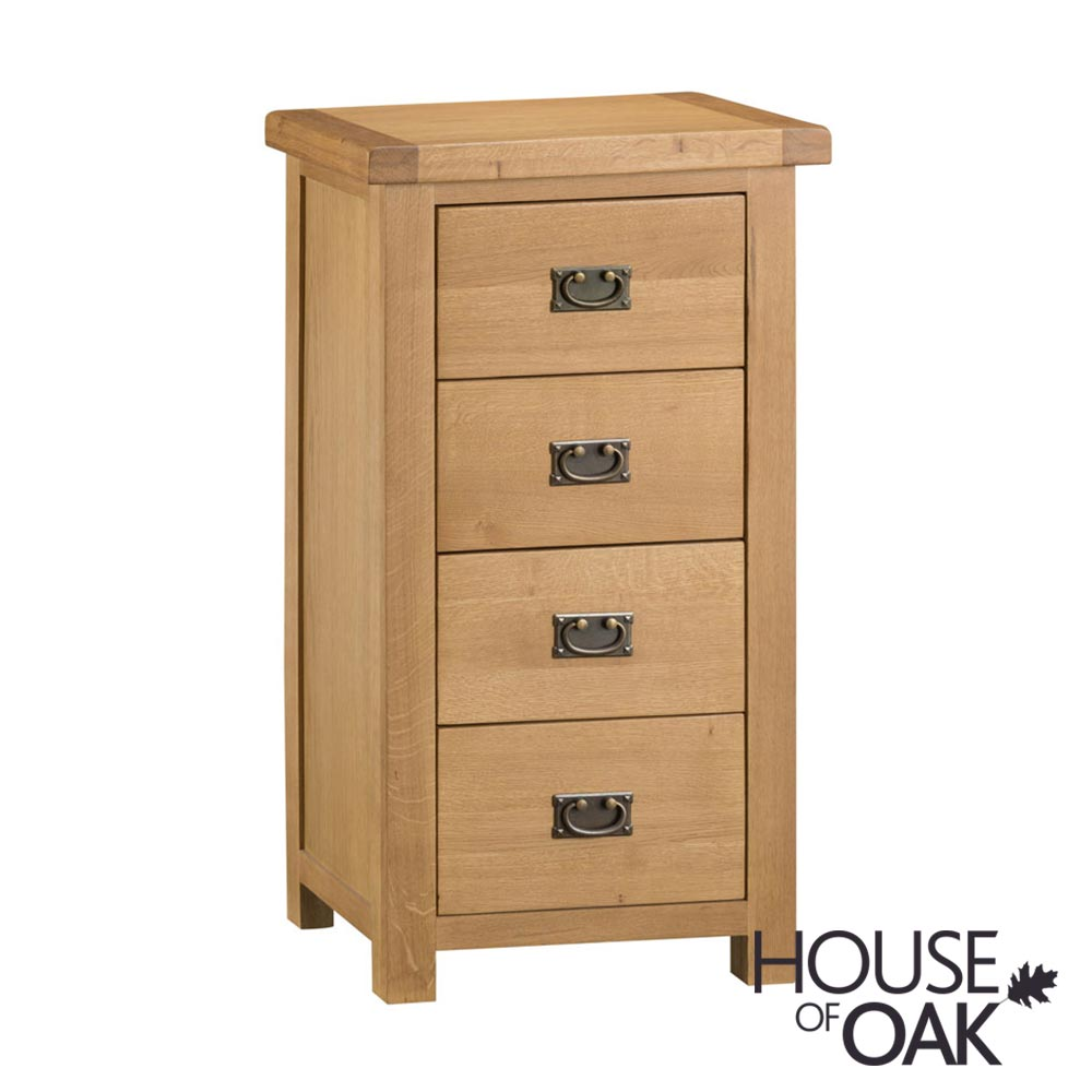 Harewood Oak 4 Drawer Narrow Chest