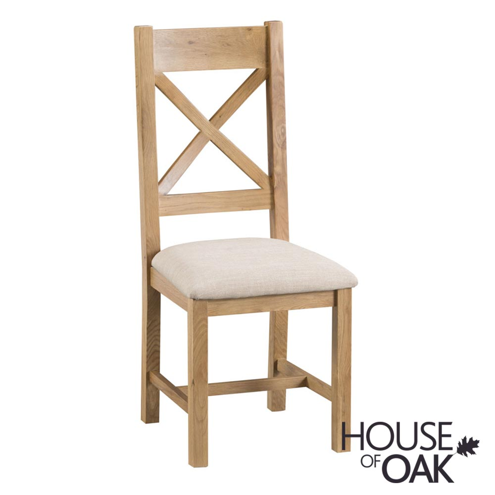 Harewood Oak Cross Back Chair Fabric Seat