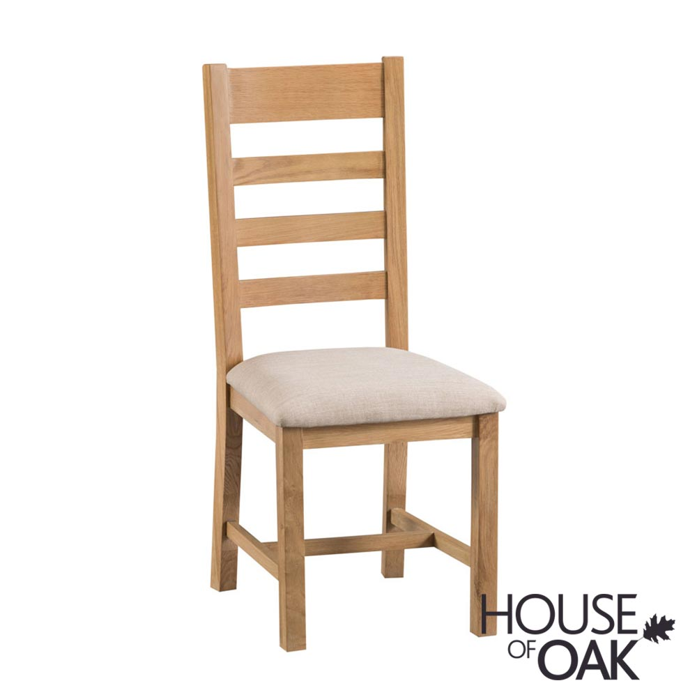 Harewood Oak Ladder Back Chair Fabric Seat