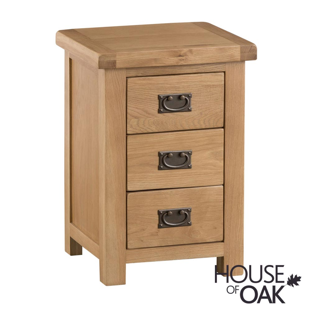 Harewood Oak Large 3 Drawer Bedside Cabinet