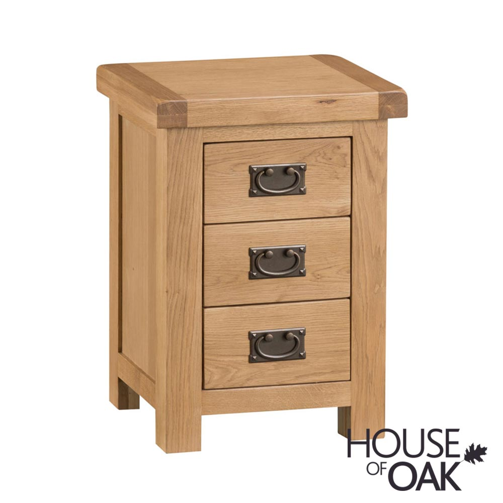 Harewood Oak 3 Drawer Bedside Cabinet