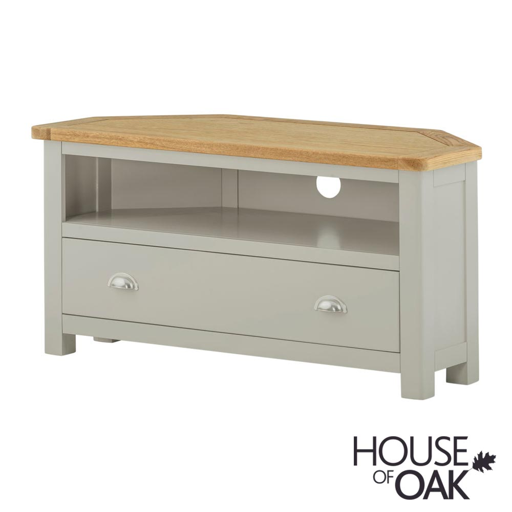 Portman Painted Corner TV Cabinet in Stone Grey