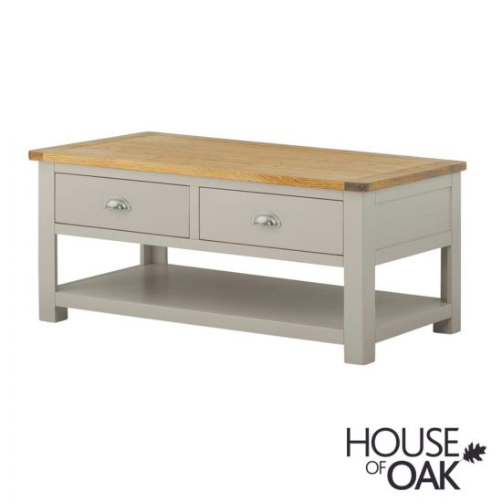 Portman Painted 2 Drawer Coffee Table in Stone Grey